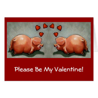 Valentines: Cute Chubby Pig Couple, Original Art Greeting Cards