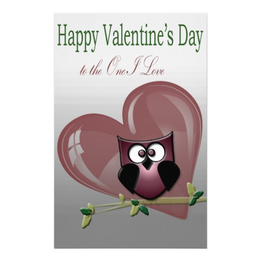 Valentine's Cute Owl, to the One I Love Stationery Paper