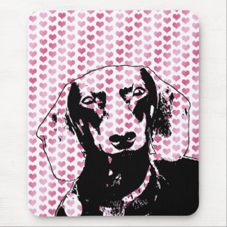 Valentines - Dachshund Silhouette - Winston Mouse Pad