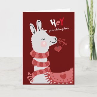 Valentine's Day A Whole Llama Love granddaughter Holiday Card