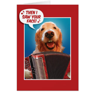 Valentines Day Accordion-Playing Golden Retriever Card