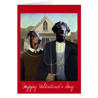 Valentines Day American Gothic funny Doberman dog Card