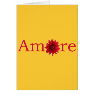 """Valentine's Day """"Amore"""" with red daisy Card"""
