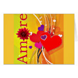 """Valentine's Day """"Amore"""" with Red Hearts Greeting Card"""