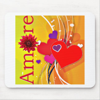 """Valentine's Day """"Amore"""" with Red Hearts Mouse Pad"""