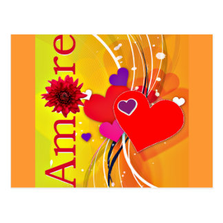 "Valentine's Day ""Amore"" with Red Hearts Postcard"