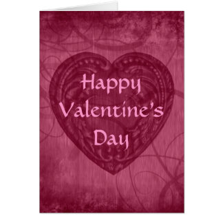 Valentine's Day antique heart pink Stationery Note Card