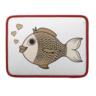 Valentine's Day Antique White Fish with Hearts Sleeve For MacBooks