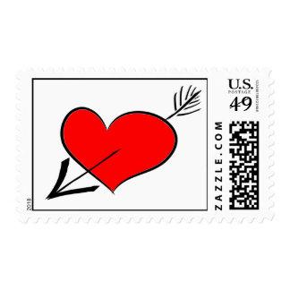Valentine's Day Arrow Through Red Heart Postage St