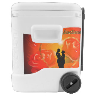 Valentine's day, awesome golden heart igloo rolling cooler