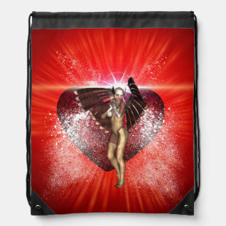 Valentine's day, awesome heart with fairy backpack