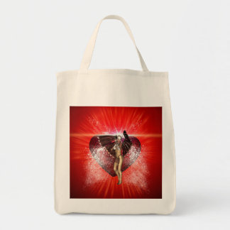 Valentine's day, awesome heart with fairy grocery tote bag