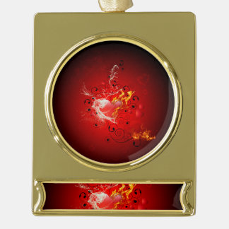 Valentine's day, awesome heart with water splash gold plated banner ornament