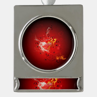 Valentine's day, awesome heart with water splash silver plated banner ornament