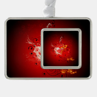 Valentine's day, awesome heart with water splash silver plated framed ornament