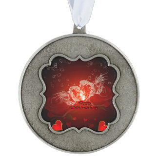Valentine's day, awesome water heart with wings scalloped ornament