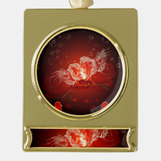 Valentine's day, awesome water heart with wings gold plated banner ornament