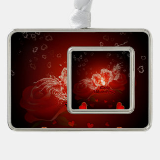Valentine's day, awesome water heart with wings silver plated framed ornament