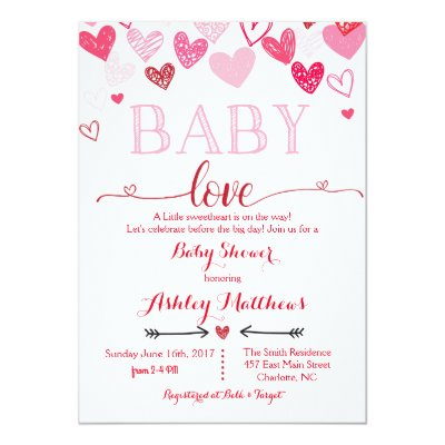 valentines day conversation heart baby shower invitation zazzlecom