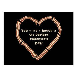 Valentine's day bacon heart postcard
