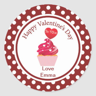 "Valentine's Day ""Be Mine"" Cupcake Stickers"