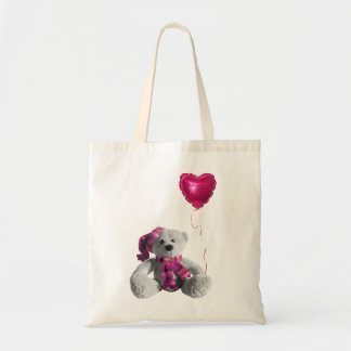 Valentine's day bear heart balloon tote bag