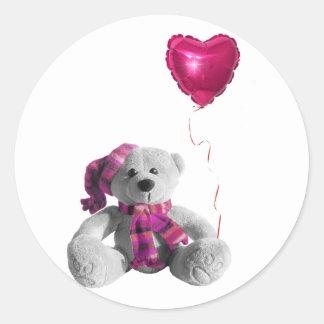 Valentine's Day Bear Heart Classic Round Sticker