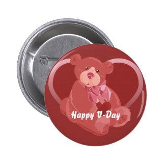 Valentine's Day Bear Pinback Button