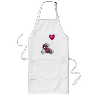 Valentine's day bearr heart balloon long apron