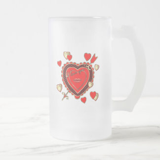 Valentine's Day Beautiful Hearts and Arrow Frosted Glass Beer Mug