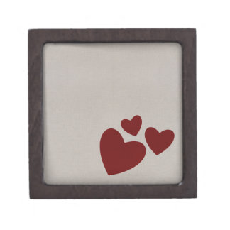Valentine's Day Beige with Red Hearts Jewelry Box