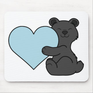 Valentine's Day Black Bear with Light Blue Heart Mouse Pad