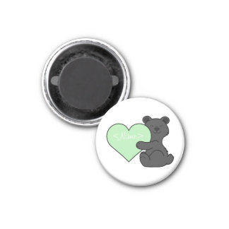 Valentine's Day Black Bear with Light Green Heart 1 Inch Round Magnet
