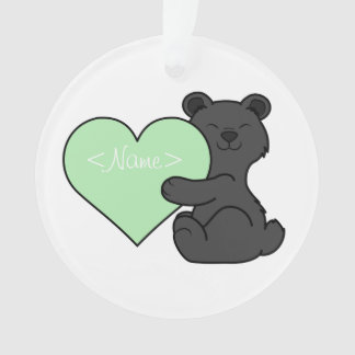 Valentine's Day Black Bear with Light Green Heart Ornament