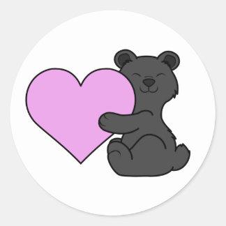 Valentine's Day Black Bear with Light Pink Heart Classic Round Sticker