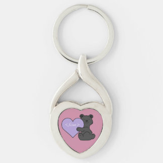 Valentine's Day Black Bear with Light Purple Heart Keychain