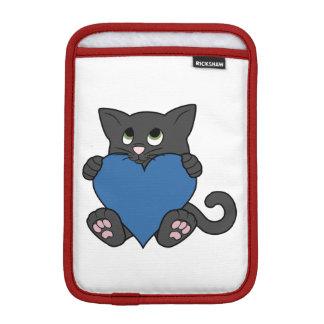 Valentine's Day Black Cat with Blue Heart iPad Mini Sleeve