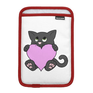 Valentine's Day Black Cat with Light Pink Heart Sleeve For iPad Mini