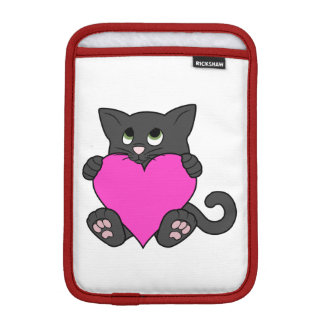 Valentine's Day Black Cat with Pink Heart Sleeve For iPad Mini