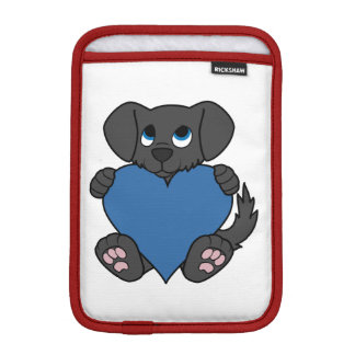 Valentine's Day Black Dog with Blue Heart Sleeve For iPad Mini