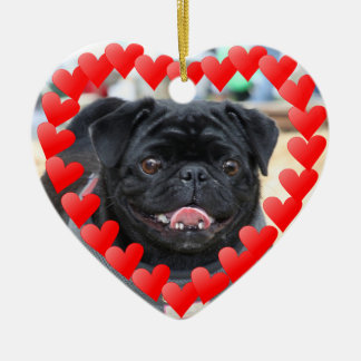 Valentine's Day Black pug ornament
