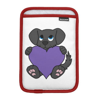 Valentine's Day Black Puppy Dog with Purple Heart Sleeve For iPad Mini