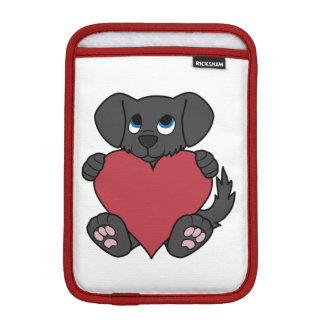 Valentine's Day Black Puppy Dog with Red Heart Sleeve For iPad Mini