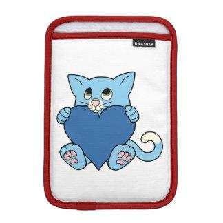 Valentine's Day Blue Cat with Heart iPad Mini Sleeve