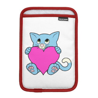 Valentine's Day Blue Cat with Pink Heart Sleeve For iPad Mini