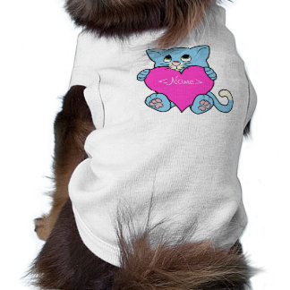 Valentine's Day Blue Cat with Pink Heart T-Shirt
