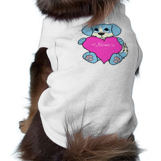 Valentine's Day Blue Dog with Blaze & Pink Heart Tee