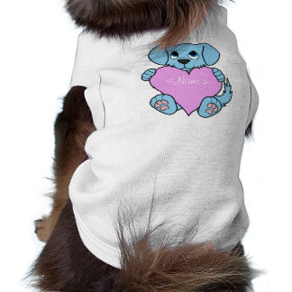 Valentine's Day Blue Dog with Light Pink Heart Tee