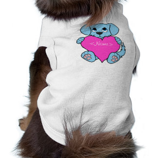 Valentine's Day Blue Dog with Pink Heart Shirt