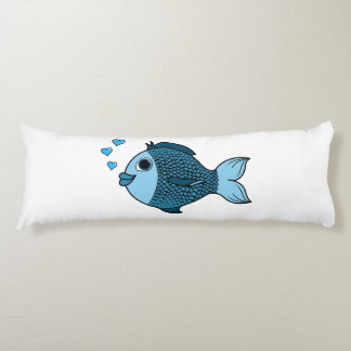 Valentine's Day Blue Fish with Heart Bubbles Body Pillow